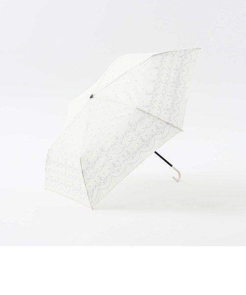 スカラップレース柄晴雨兼用折りたたみ傘 雨傘