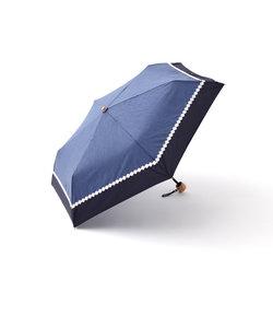 シャンブレーフラワーレース晴雨兼用折りたたみ傘 日傘