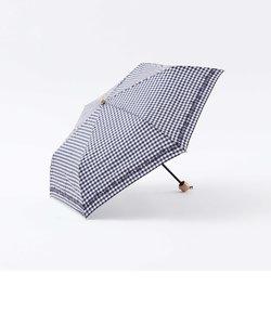 ギンガムチェックフラワー晴雨兼用折りたたみ傘  日傘