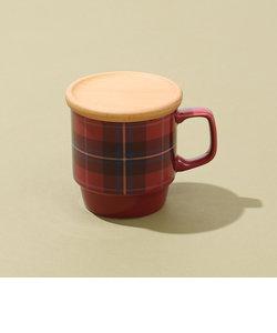 タータンチェック柄フタ付きマグカップ