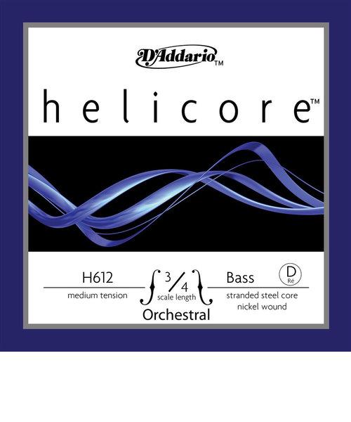 HH612 コントラバス弦 Helicore Hybrid Bass Strings ミディアムテンション 3/4スケール D線 【バラ弦1本】