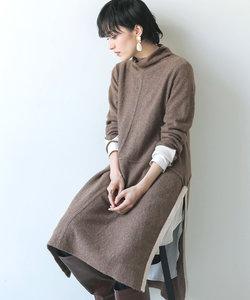 センターライン裾配色ニットチュニック