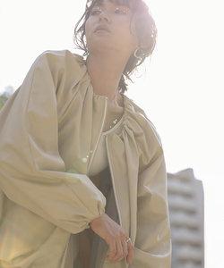 【WEB限定】エコレザーコクーンシルエットブルゾン/ギャザージャケット