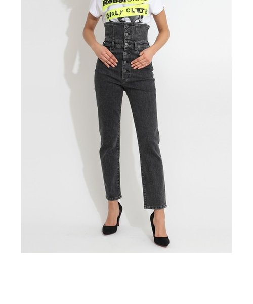 THE IT GIRL PIN UP High-Rise BustierButton Denim Pant