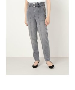 MOM CARGO High-Rise Belted Denim Pant