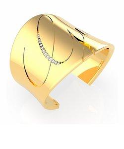 LIQUID Italic Logo Open Bangle (Gold)