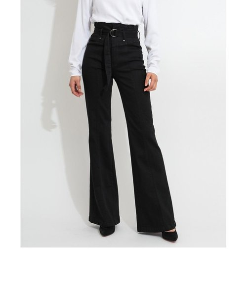 MARYLOU CORSET High-Rise Belted Palazzo Denim Pant