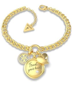 GUESS MY FEELINGS Trust Your Heart Charm Bracelet (Gold)
