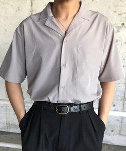 ドロップショルダーオープンカラー半袖シャツ