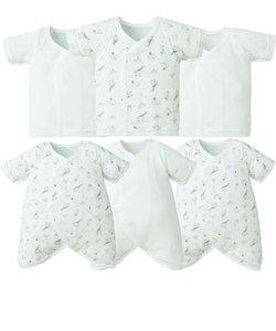 新生児肌着6点セット   スナップ 半袖七分袖