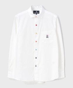 マルチカラーボタン  ブロードシャツ