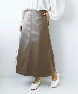 フェイクレザー Aラインスカート◆