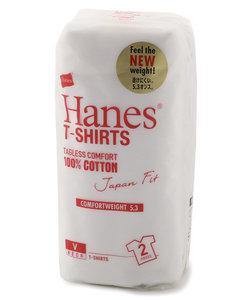 ヘインズ 「Japan Fit」 VネックTシャツ白2枚組