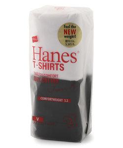ヘインズ 「Japan Fit」 VネックTシャツ白黒2枚組