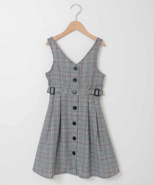 [140-150]フロントボタンチェックジャンパースカート