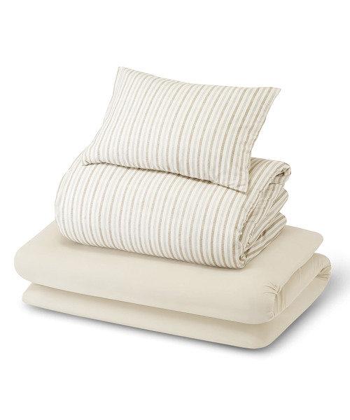 すぐに使える寝具6点セット(ストライプMO S)