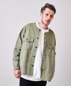 ツイルノーカラーシャツジャケット