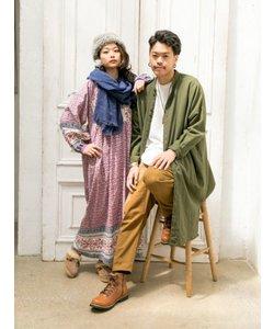 【チャイハネ】無地コットンバンドカラーロングシャツ(ユニセックス)