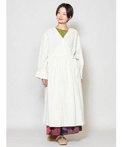 【チャイハネ】麻混刺繍カシュクールワンピース ロングカーディガン2WAY