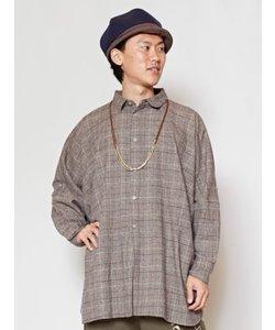 【チャイハネ】グレンチェック柄オーバーサイズMEN'Sシャツ