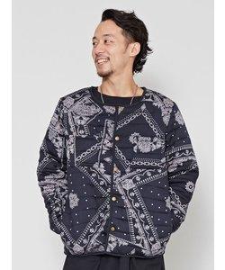 【チャイハネ】バンダナ柄中綿キルティングMEN'Sジャケット