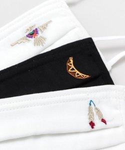 【チャイハネ】grn×Amina インディーカ刺繍入りトリプルガーゼマスク