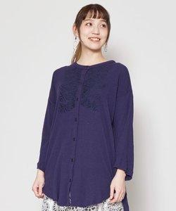 【チャイハネ】ボタニカル刺繍ノーカラーシャツ