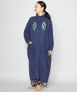 【チャイハネ】刺繍バンドカラーシャツワンピース