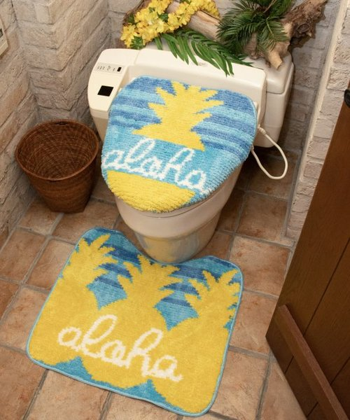 【Kahiko】HAWAIIAN TOILETRY COVER&MAT / トイレセット アロハパイン