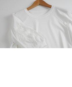 STYLE RAVIE スタイルラヴィ 袖レース切替 Tシャツ 上品透け感 カットソー レディース 春 夏 秋 全4色 ゆったりめ 9号 ナチュラル きれいめ 40代 50代 個性的 大きいサイズ 大人 OTONA ミセス 服 ファッション 女性