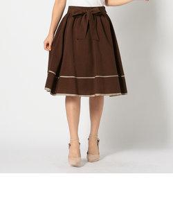 ウエストリボン配色スカート