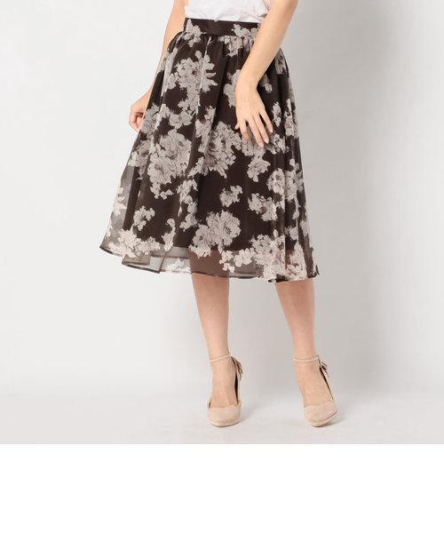 ソフトオーガンジ花柄スカート
