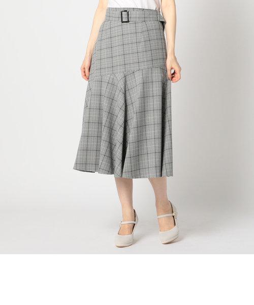 グレンチェック裾フレアスカート
