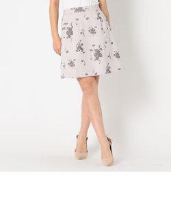 フロッキー花柄ミニスカート
