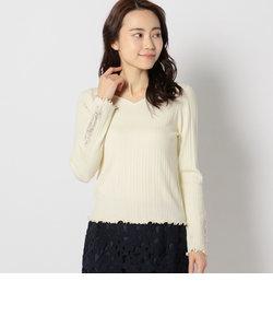 袖微配色刺繍リブニット