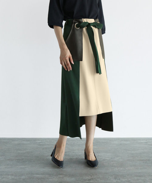 LASUD 合皮ポケット ボンディングハトメスカート