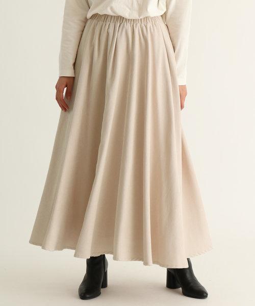 Bouchon(ブション) コーデュロイフレアカラースカート