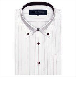 ワイシャツ 半袖 形態安定 ボタンダウン 白×ピンク系ストライプ、ストライプ織柄 (再生ポリエステル) Just Style