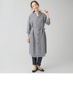 レディース ウィメンズ カジュアル 長袖 ロングシャツ バンドカラー 麻100% 白×黒チェック