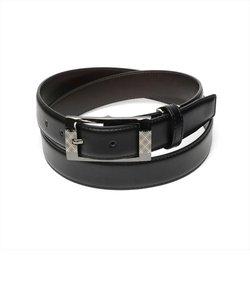 メンズベルト 黒系 95cm 牛革 ピンバックル式 (サイズ調節可能)