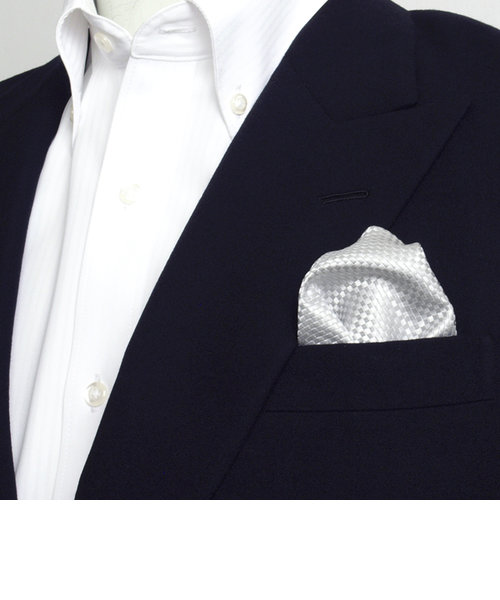 ポケットチーフ / ビジネス / フォーマル / 絹100% シルバー バスケット織柄