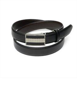 メンズベルト 黒系 95cm 牛革 バックル式 (サイズ調節可能)