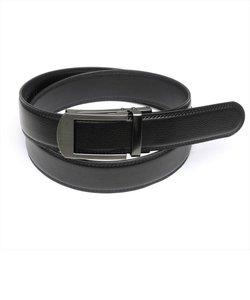 メンズベルト ブラック系 110cm 牛皮 リールロック式