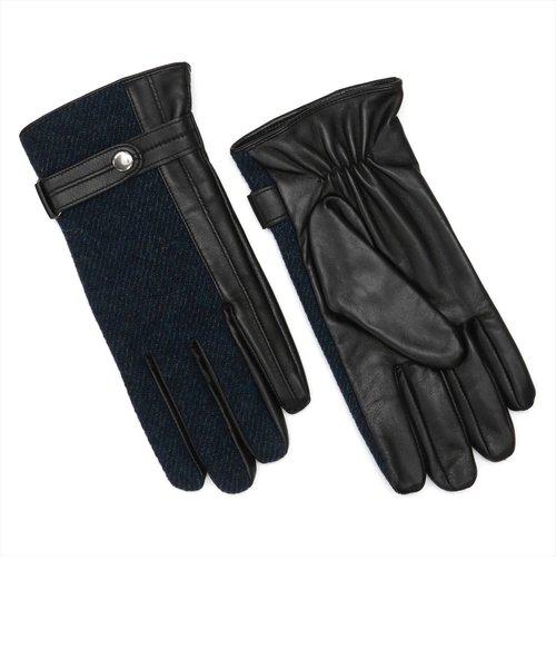 グローブ / 手袋 / ビジネス / メンズ / レザー 布帛コンビ ネイビー系