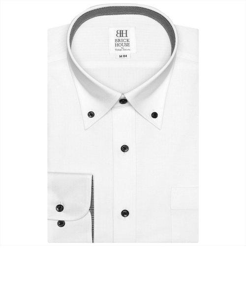ワイシャツ 長袖 形態安定 ビズポロ ニットシャツ ボタンダウン 白×織柄 スリム