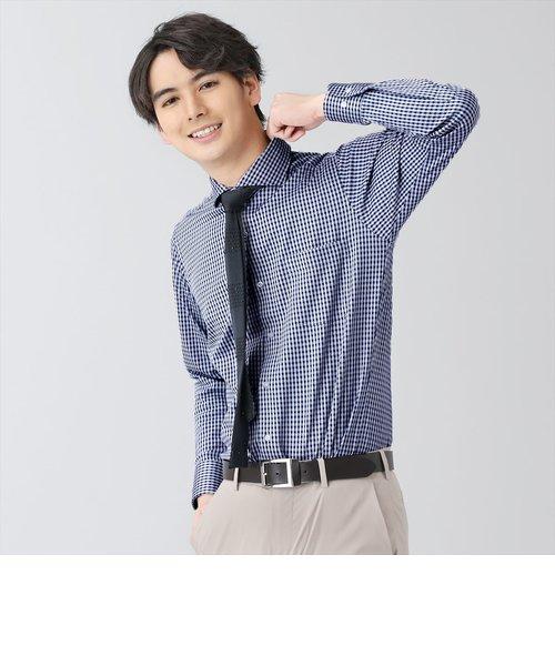 ワイシャツ 長袖 形態安定 ビズポロ ニットシャツ ホリゾンタル ワイド 白×ネイビーチェック スリム