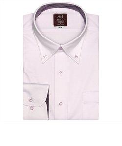 ワイシャツ 長袖 形態安定 ビズポロ ニットシャツ ボタンダウン ピンク×織柄 袖の長い・大きいサイズ