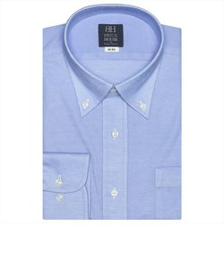 ワイシャツ 長袖 形態安定 ビズポロ ニットシャツ ボタンダウン ブルー×無地調 標準体