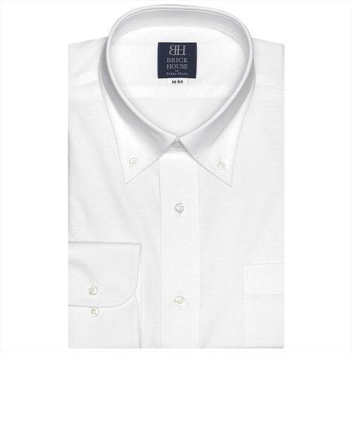 ワイシャツ 長袖 形態安定 ビズポロ ニットシャツ ボタンダウン 白×織柄 標準体