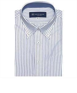 ワイシャツ 半袖 形態安定 ビズポロ ニットシャツ ボタンダウン 白×ブルーボーダーストライプ